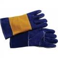 WGLO7 ถุงมือหนังท้องสีน้ำเงินเสริมหนังหลังมือ